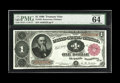 Large Size:Treasury Notes, Fr. 349 $1 1890 Treasury Note PMG Choice Uncirculated 64 EPQ. The face margins are ample for a Gem grade though the back cen...