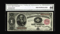 Large Size:Treasury Notes, Fr. 350 $1 1891 Treasury Note CGA Gem Uncirculated 66. The corners are sharp and the margins all around are a hair larger th...