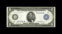 Fr. 845 $5 1914 Federal Reserve Note Star Choice About New. A very rare Star Note, with only three examples listed. This...