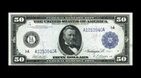 Fr. 1026 $50 1914 Federal Reserve Note Choice About New. Only five examples of this rare Fed Fifty are known, and this i...