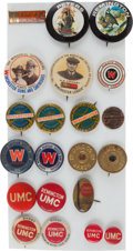 Miscellaneous, Lot of Twenty-One Firearms and Ammunition Manufacturers Advertising Buttons. ...
