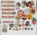 Military & Patriotic:WWI, Large Lot of U.S. WWI and WWII Patriotic Buttons and Pins. ...