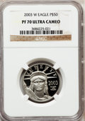 Modern Bullion Coins, 2003-W P$50 Half-Ounce Platinum Eagle PR70 Ultra Cameo NGC. NGCCensus: (354). PCGS Population (134). Numismedia Wsl. Pric...