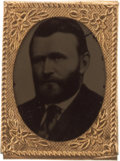 Political:Ferrotypes / Photo Badges (pre-1896), Ulysses S. Grant: Bold Gem Ferrotype Badge....