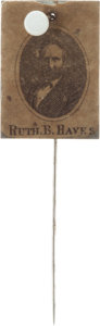Political:Ferrotypes / Photo Badges (pre-1896), Rutherford B. Hayes: Unusual Picture Stickpin....