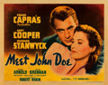 "Movie Posters:Drama, Meet John Doe (Warner Brothers, 1941). Half Sheet (22"" X 28"") StyleB.. ..."