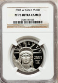 Modern Bullion Coins, 2003-W P$100 One-Ounce Platinum Eagle PR70 Ultra Cameo NGC. NGCCensus: (282). PCGS Population (95). Numismedia Wsl. Price...