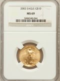 Modern Bullion Coins, 2002 G$10 Quarter-Ounce Gold Eagle MS69 NGC. PCGS Population(1940/3). Numismedia Wsl. Price for proble...