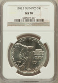Modern Issues: , 1983-S $1 Olympic Silver Dollar MS70 NGC. NGC Census: (7). PCGSPopulation (5). Mintage: 174,014. Numismedia Wsl. Price for...