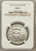 Modern Bullion Coins, 2007-W $100 One-Ounce Platinum Eagle MS70 NGC. NGC Census: (0).PCGS Population (131). Numismedia Wsl. Price for problem f...