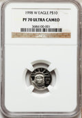Modern Bullion Coins: , 1998-W P$10 Tenth-Ounce Platinum Eagle PR70 Ultra Cameo NGC. NGCCensus: (440). PCGS Population (71). Mintage: 19,919. Numi...