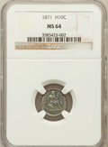Seated Half Dimes: , 1871 H10C MS64 NGC. NGC Census: (121/52). PCGS Population (84/49).Mintage: 1,873,960. Numismedia Wsl. Price for problem fr...
