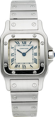 Cartier Lady's Stainless Steel Santos Wristwatch, circa 1989