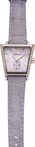 Estate Jewelry:Watches, Corum Lady's Diamond, Mother-of-Pearl, Stainless Steel TrapezeLeather Strap Wristwatch. ...