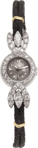 Estate Jewelry:Watches, LeCoultre Lady's Diamond, Platinum Wristwatch. ...