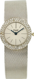 Estate Jewelry:Watches, Piaget Lady's Diamond, White Gold Integral Bracelet Wristwatch. ...