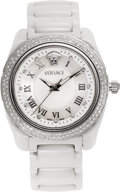 Estate Jewelry:Watches, Versace Lady's Diamond, Ceramic, Stainless Steel Wristwatch,modern. ...