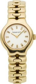 Estate Jewelry:Watches, Tiffany & Co. Lady's Diamond, Gold Tesoro Wristwatch, modern....