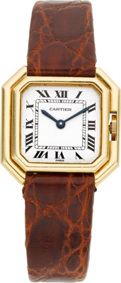Cartier Lady's Centiure Gold Crocodile Strap Wristwatch