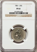 Proof Seated Quarters: , 1861 25C PR61 NGC. NGC Census: (10/82). PCGS Population (8/96).Mintage: 1,000. Numismedia Wsl. Price for problem free NGC/...