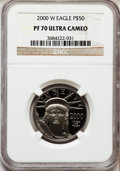 Modern Bullion Coins: , 2000-W P$50 Half-Ounce Platinum Eagle PR70 Ultra Cameo NGC. NGCCensus: (525). PCGS Population (202). Numismedia Wsl. Pric...