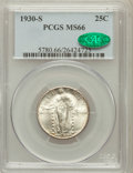 Standing Liberty Quarters: , 1930-S 25C MS66 PCGS. CAC. PCGS Population (104/22). NGC Census:(43/17). Mintage: 1,556,000. Numismedia Wsl. Price for pro...