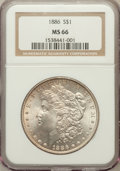 Morgan Dollars: , 1886 $1 MS66 NGC. NGC Census: (4910/877). PCGS Population (2489/245). Mintage: 19,963,886. Numismedia Wsl. Price for proble...