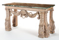 Furniture , A GEORGE II-STYLE ENGLISH CARVED LIMED PINE AND MARBLE CONSOLE TABLE AFTER WILLIAM KENT . Maker unknown, England, circa 1940...