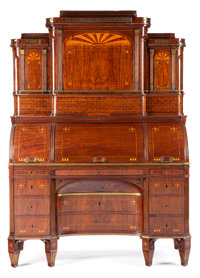 A NORTH GERMAN EMPIRE MAHOGANY TEMPLE-FORM TRIPLE ROLL-TOP DESK Maker unknown, Germany, circa 1815 82 x 58 x 2