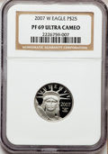 Modern Bullion Coins, 2007-W $25 Quarter-Ounce Platinum Eagle PR69 Ultra Cameo NGC. NGCCensus: (0/0). PCGS Population (323/155). Numismedia Wsl...