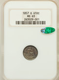 Seated Half Dimes: , 1857-O H10C MS63 NGC. CAC. NGC Census: (19/85). PCGS Population(24/62). Mintage: 1,380,000. Numismedia Wsl. Price for prob...