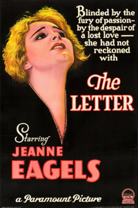 "The Letter (Paramount, 1929). Full-Bleed One Sheet (27"" X 41"") Style B"