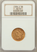 Liberty Half Eagles: , 1894-O $5 AU50 NGC. NGC Census: (11/268). PCGS Population (34/126).Mintage: 16,600. Numismedia Wsl. Price for problem free...