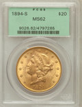 Liberty Double Eagles: , 1894-S $20 MS62 PCGS. PCGS Population (1467/841). NGC Census:(1771/619). Mintage: 1,048,550. Numismedia Wsl. Price for pro...