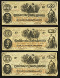 Confederate Notes:1862 Issues, T41 $100 1862 PF-16 Cr. 320, PF-22 Cr. 320A (2).. ... (Total: 3notes)
