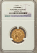 Indian Half Eagles: , 1915-S $5 -- Improperly Cleaned -- NGC Details. AU. NGC Census:(62/1023). PCGS Population (40/513). Mintage: 164,000. Numi...