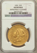 Liberty Double Eagles: , 1850 $20 -- Improperly Cleaned -- NGC Details. AU. NGC Census:(159/578). PCGS Population (135/257). Mintage: 1,170,261. Nu...