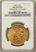 Liberty Double Eagles: , 1861 $20 -- Improperly Cleaned -- NGC Details. Unc. NGC Census:(43/236). PCGS Population (42/185). Mintage: 2,976,453. Num...
