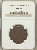 Large Cents: , 1793 1C Wreath Cent, Vine and Bars Poor 1 NGC. NGC Census: (5/180).PCGS Population (8/486). Mintage: 63,353. (#1347)...