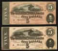 Confederate Notes:1864 Issues, T69 $5 1864 PF-10 Cr. 543 Two Examples.. ... (Total: 2 notes)
