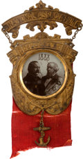 Political:Ferrotypes / Photo Badges (pre-1896), Cleveland & Thurman: Glass Jugate Badge....