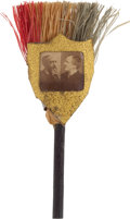 Political:Ferrotypes / Photo Badges (pre-1896), Harrison & Morton: Jugate Broom Stickpin....