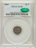 Three Cent Silver: , 1865 3CS XF40 PCGS. CAC. PCGS Population (1/72). NGC Census:(0/89). Mintage: 8,000. Numismedia Wsl. Price for problem free...