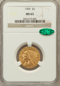 Indian Half Eagles, 1909 $5 MS63 NGC. CAC....