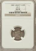 """Early Half Dimes, 1800 H10C """"LIBEKTY"""" AU50 NGC. LM-3. NGC Census: (3/19). PCGSPopulation (2/20). Numismedia Wsl. Price for problem free NGC..."""