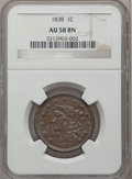 Large Cents: , 1838 1C AU58 NGC. NGC Census: (85/406). PCGS Population (64/260).Mintage: 6,370,200. Numismedia Wsl. Price for problem fre...