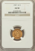 Liberty Quarter Eagles: , 1907 $2 1/2 AU58 NGC. NGC Census: (207/8286). PCGS Population(403/8721). Mintage: 336,200. Numismedia Wsl. Price for probl...