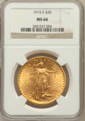Saint-Gaudens Double Eagles: , 1915-S $20 MS66 NGC. NGC Census: (153/1). PCGS Population (188/0).Mintage: 567,500. Numismedia Wsl. Price for problem free...