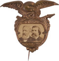 Political:Ferrotypes / Photo Badges (pre-1896), Blaine & Logan: Choice Cardboard Jugate....