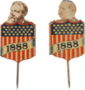 Political:Ferrotypes / Photo Badges (pre-1896), Grover Cleveland and Benjamin Harrison: Mechanical ShieldStickpins.... (Total: 2 Items)